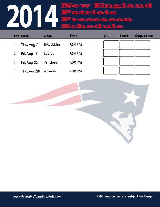 New England Patriots Preseason 2014 Schedule