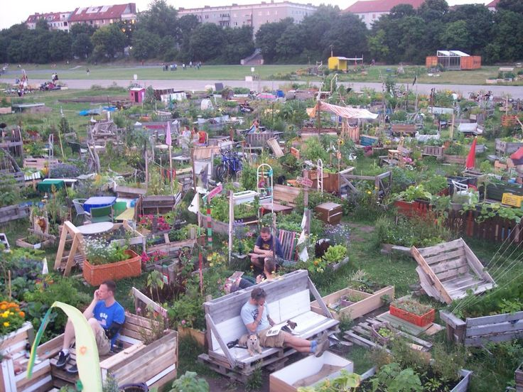 The open allotment garden area at the Tempelhof airport field in Berlin.