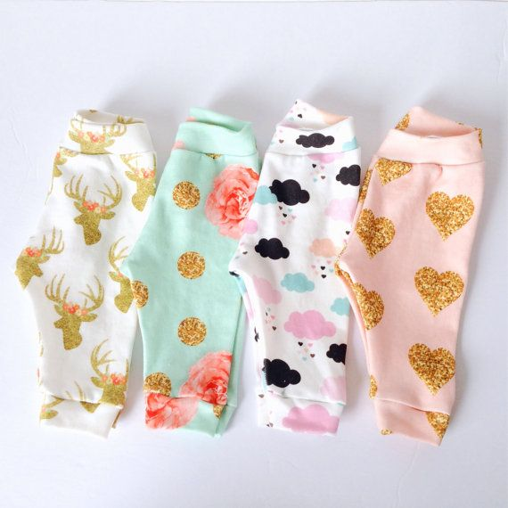 Organic baby girl legging pink clouds gold heart golden buck mint flower…