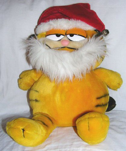 Vintage 15 Christmas Plush Garfield the Cat with Santa Claus Beard and Hat with Jingle Bell @ niftywarehouse.com