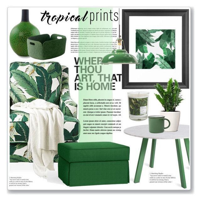 """""""tropical prints"""" by nanawidia ❤ liked on Polyvore featuring interior, interiors, interior design, home, home decor, interior decorating, Society Social, Blu Dot, Pottery Barn and NOVICA"""