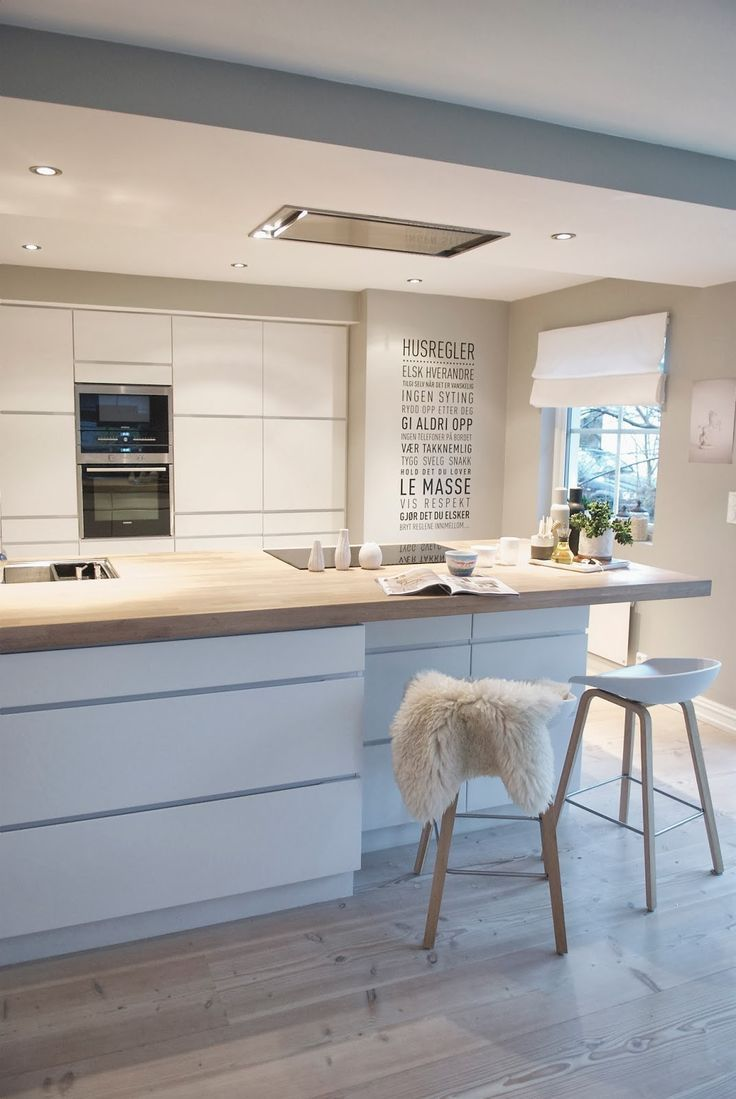 northernmoments: Modern scandinavian kitchen by Lulle & Laban All white and wood. House rules in Norwegian on the wall if anyone is wondering.