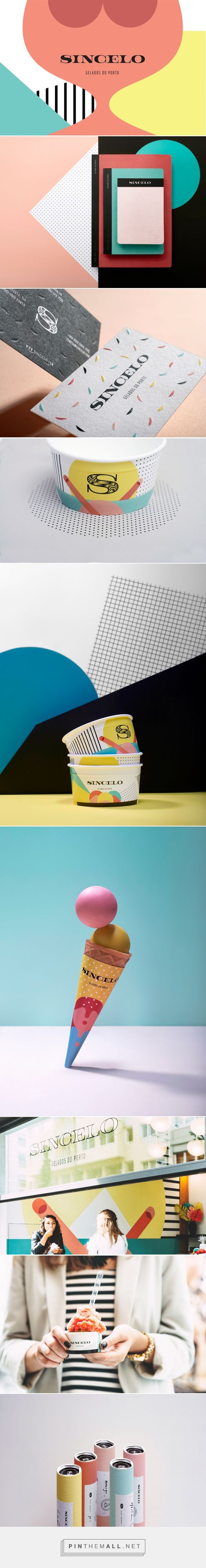 Graphic design, branding and packaging for Sincelo on Behance by This Is Pacifica Porto, Portugal curated by Packaging Diva PD. Monochrome logo and multiple dimension illustrations create a rich set of coloured contrasts, applied in space, the packaging, the postals, posters and motion design.
