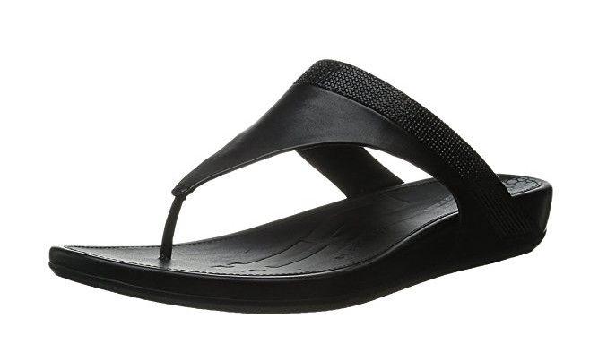 #FitFlop Fitness Schuhe - Banda Zehenstegsandale mit schwarzen Microkristallen, schwarz.
