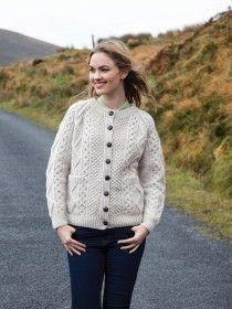 Aran Handknit Cardigan Merino Wool S159