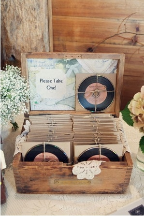 vintage wedding favors - CD printed to look like vinyl record!