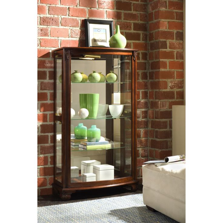 Brown Finish Mantel Height Curio Cabinet (Curio Cabinet)