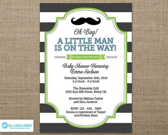 Mustache Invitation   Little Man Invitation   Little Man Baby Shower  Invitation   Mustache Baby Shower Invitation   Mustache Printable   Boy