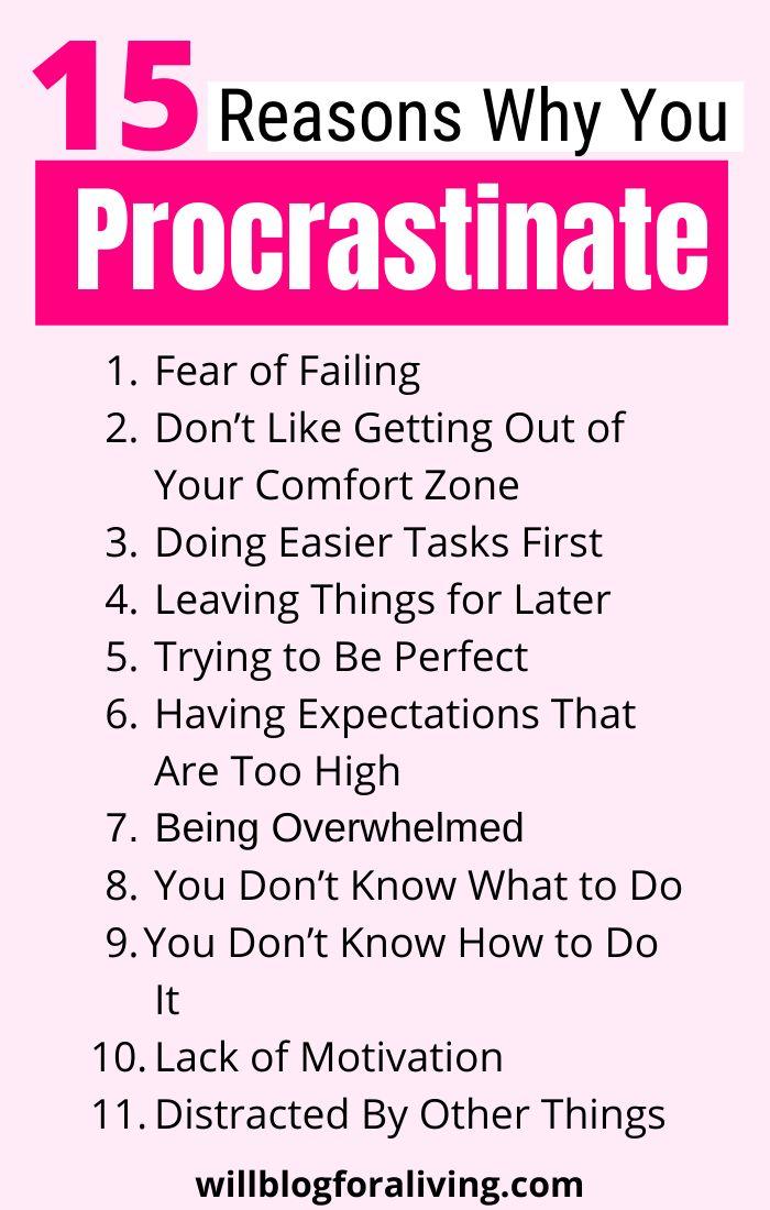 15 Reason Why You Procrastinate | Procrastination ...