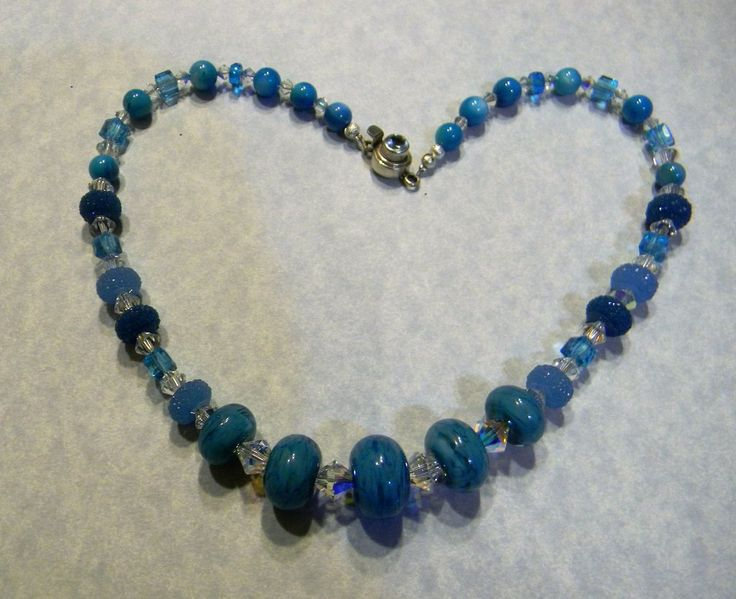 Shades of Turquoise and Aqua Art Glass Lampwork, Crystal, Dyed Shell and Acrylic Bead Necklace