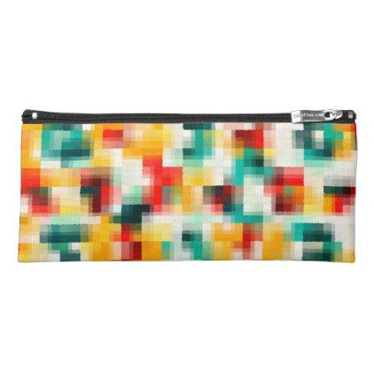 Red Blue Green Yellow White Abstract Pattern Pencil Case - chic design idea diy elegant beautiful stylish modern exclusive trendy
