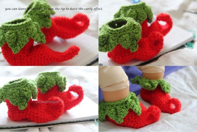 Wonderful DIY Crochet Chili Elf Baby Shoes with Free Pattern | WonderfulDIY.com
