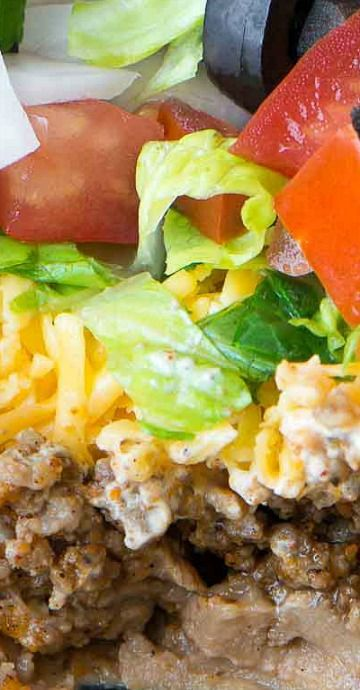 Mexican 7 Layer Taco Dip (with beef)