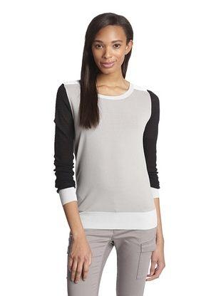 74% OFF Shae Women's Printed Moto Sweater (Heather Gray Combo)