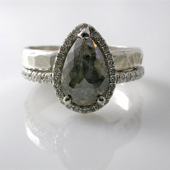 Grey Diamond Engagement Ring  MADE TO ORDER   Pear Shaped