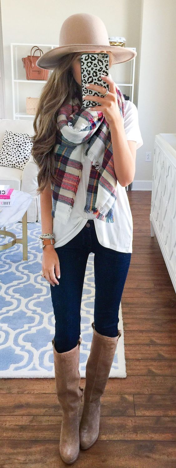 white tee + blanket scarf + tall boots + floppy hat.