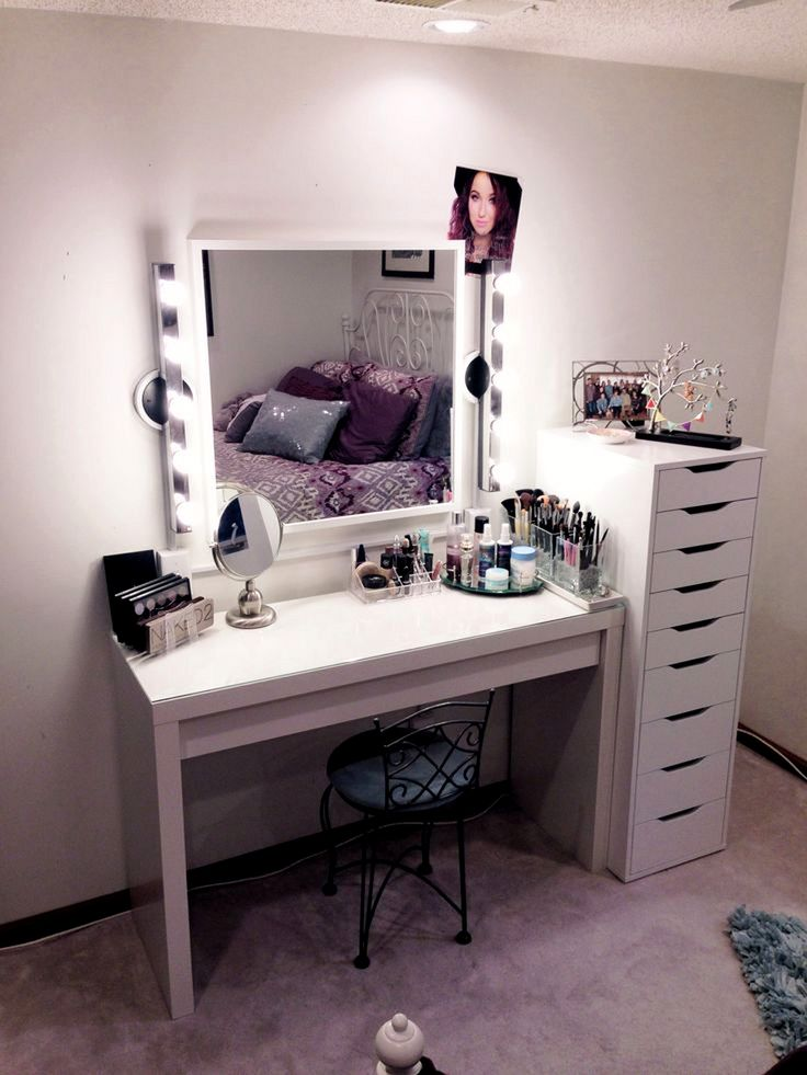 white makeup vanity with lights. crisp clean white makeup vanity from ikea - with added drawer storage lights e