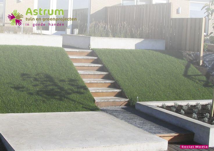 Moderne tuin beton terras talud trap tuinen van astrum pinterest tuin - Moderne betonnen trap ...