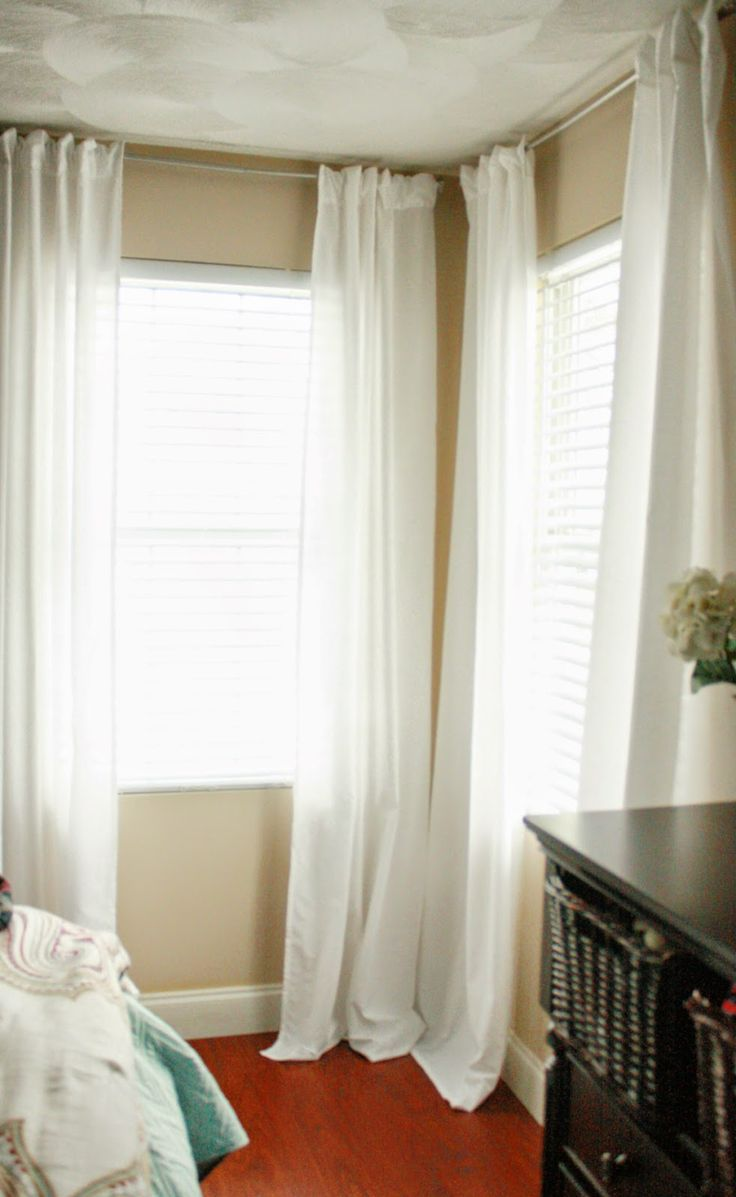 """Fearfully & Wonderfully Made: Flat Sheet """"Back-Tab"""" Curtain Panels for 2 windows only $10!"""