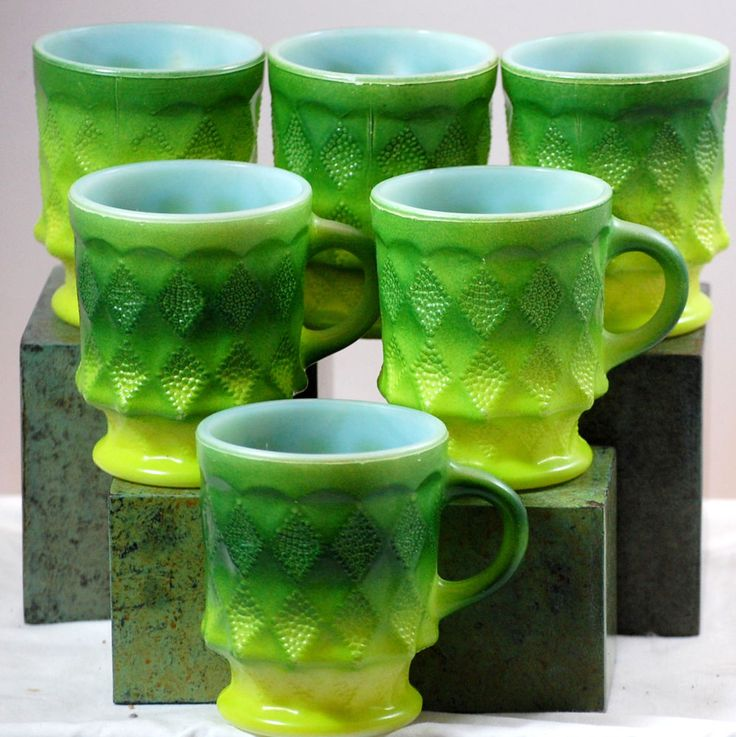 Vintage Fire King Kimbery Pattern Set Of Six Green Coffee Mugs 1960s  http://green-coffee-800.com/