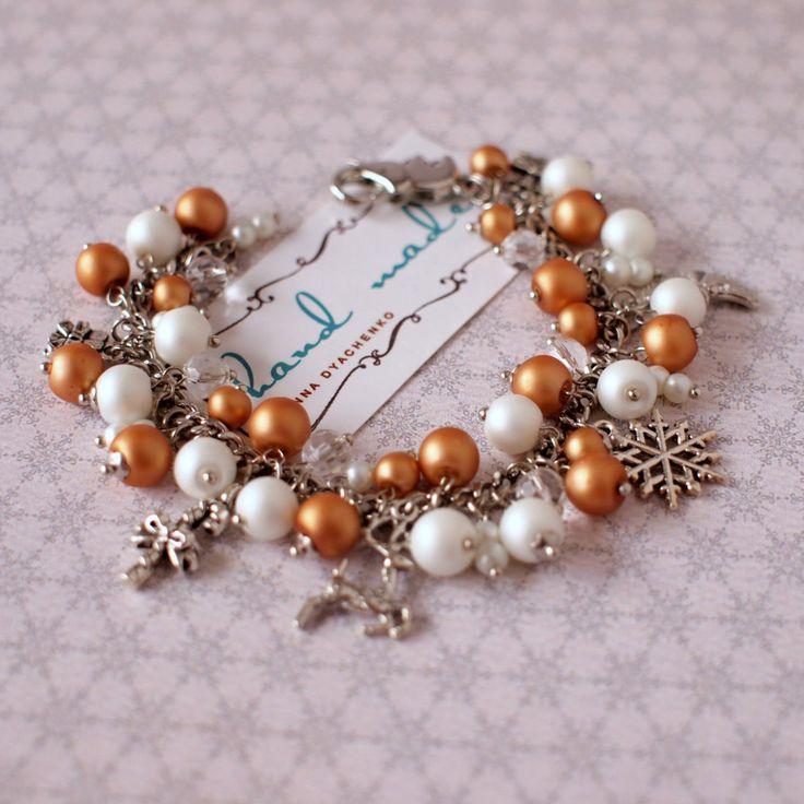 Gold and white beads bracelet Winter bracelet Faux pearls bracelet Xmas jewelry Winter holiday gift by AnyankasHandiworks on Etsy