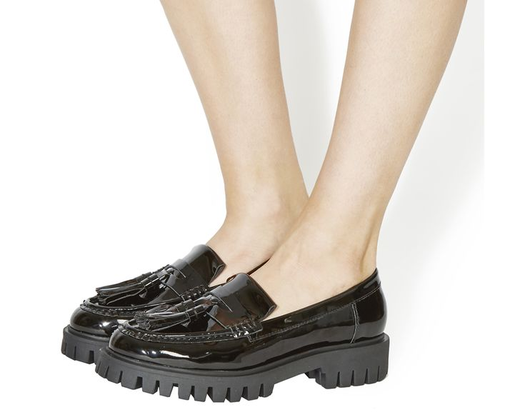 Buy Black Patent Office Righteous Cleated Chunky Loafers from OFFICE.co.uk.