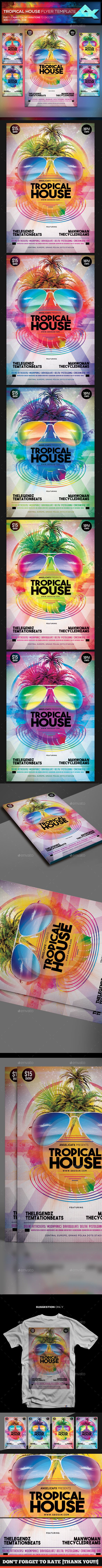 Tropical House Flyer Template — Photoshop PSD #dj #mixtape • Download ➝ https://graphicriver.net/item/tropical-house-flyer-template/20217569?ref=pxcr
