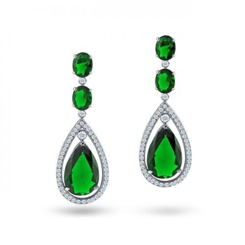 Emerald Color CZ Silver Oval Double Teardrop Chandelier Earrings 2in