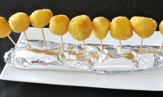 Mini billes de mozzarella panées