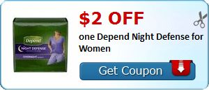 New Coupon!  $2.00 off one Depend Night Defense for Women - http://www.stacyssavings.com/new-coupon-2-00-off-one-depend-night-defense-for-women/