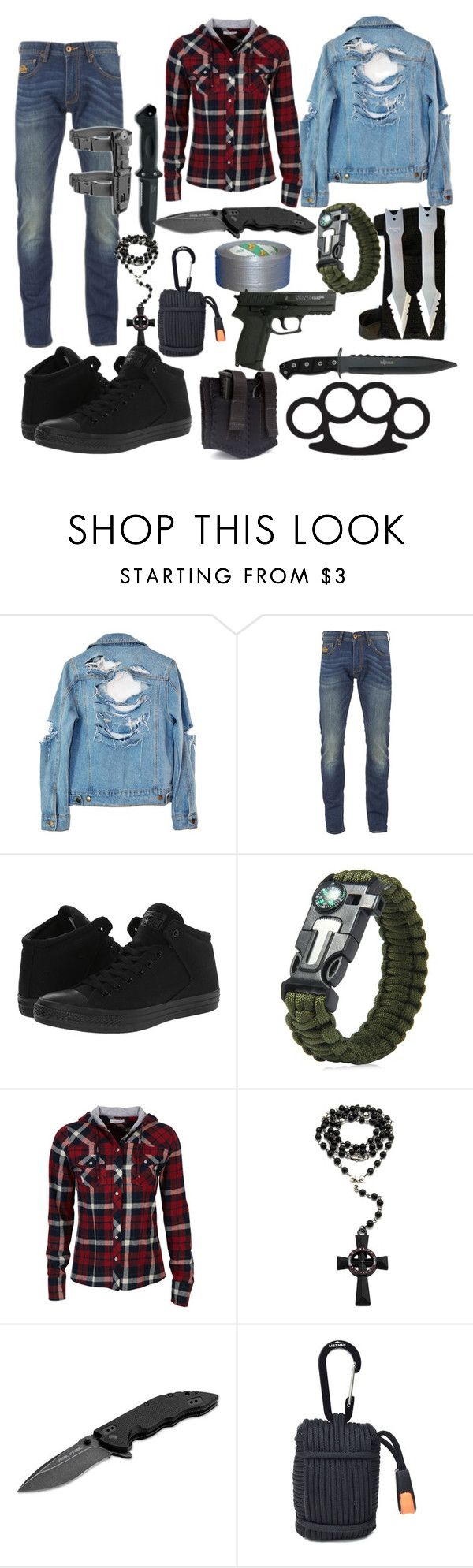 """TWD Inspired Outfit"" by sammywinchester05 ❤ liked on Polyvore featuring High Heels Suicide, Superdry, Converse, X Games, dELiA*s and Böker"