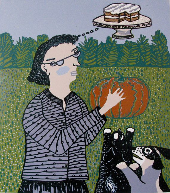 Pumpkins, Dogs, Cakes & Printmaking...Yup. Pumpkin Cake is an 8 color reductive linoleum print. The image is 22 X 20 and is printed with oil based inks onto a sheet of Arches 88 heavyweight cotton paper. There is an edition of 17. This print will ship flat.