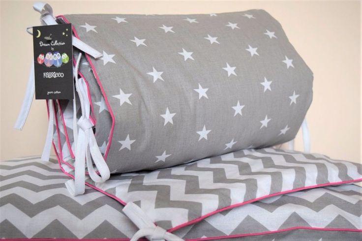 Cot Bed Bumper Grey & White Stars Chevron Girls  pink piping nursery