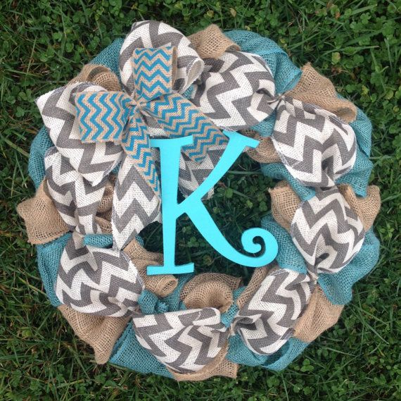 Burlap Spring Wreath, Fall Wreath, Summer Wreath, Gift for Mom, Door Wreath, Turquoise and Chevron