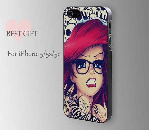 Super cute @Andrea Taylor Wolford  Tattooed Disney Princess------red long hair girl apple snow white apple iphone 5s box 5c case iphone cover for iphone4/4s/5/5s/5c