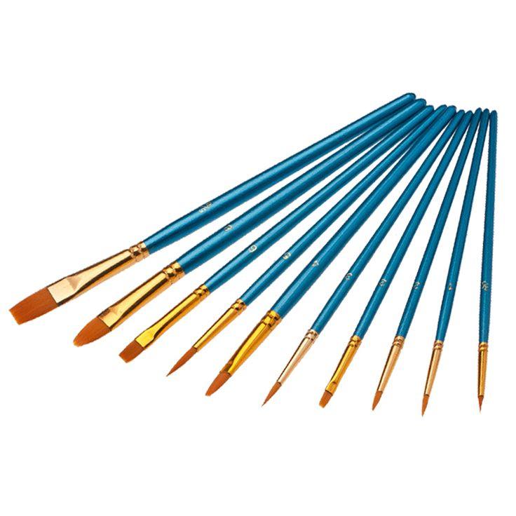10 stks/partij pro gezicht verf borstels houten handvat kunst levert nylon haar set voor kunstenaar schilder kids schilderen gift penselen make-up