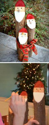 Painted Santa Logs   20+ Awesome DIY Christmas Outdoor Decorations