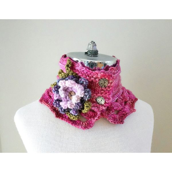 Pink Floral Scarf, SALE, One of a Kind, hand spun yarn hand painted... ($23) ❤ liked on Polyvore featuring accessories, scarves, pink scarves, merino wool scarves, pink shawl, floral shawl and merino wool shawl