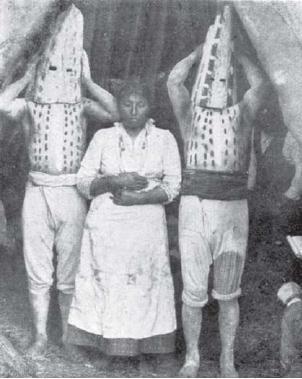 Selknam tribesmen from Tierra Del Fuego.