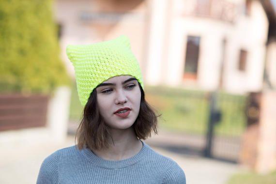 Lemon NEON Cat Hat Cat Hat Knit Hat Knit Pussy Hat NEON
