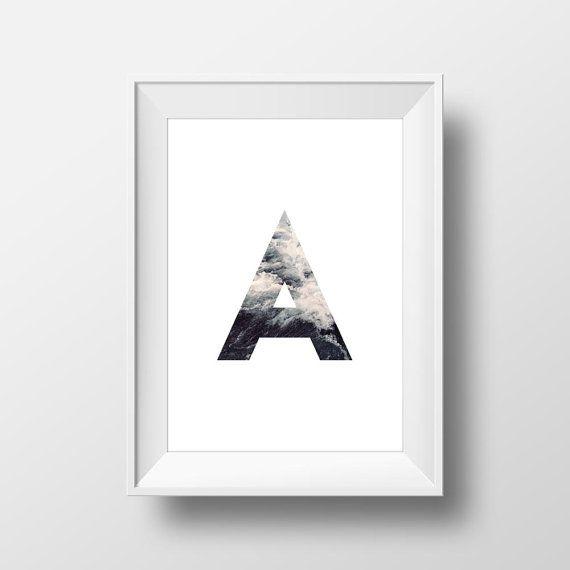"Printable Art ""A"" Print Wall Decor Home Digital Art Printable Hipster Sea Ocean Alphabet Letter Waves"