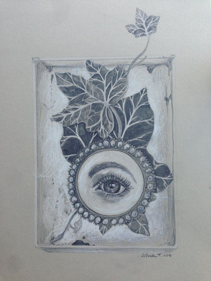 """Stillife with lovers eye og ivy in box"", pencil and colorpencil on grey paper, A4, 2015. Price: 1200,- dkr  For inquiries contact artist Lisbeth Thygesen at lisbeth_t@live.dk #popsurrealism"