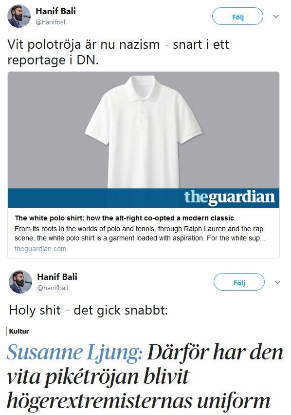 Rasism mot vita polotröjor.