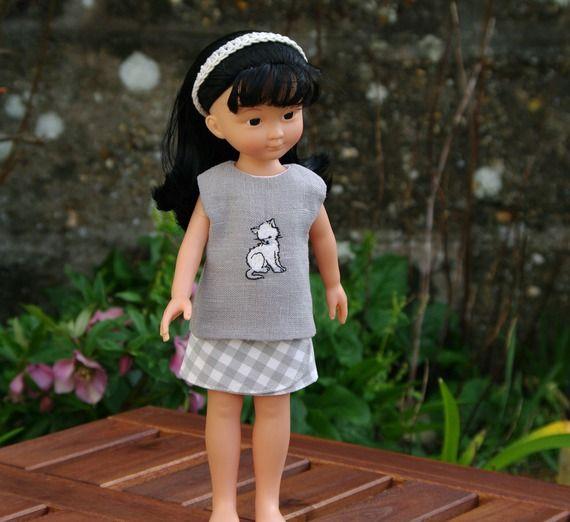 vêtements jupe et tunique pour poupée type les Chéries de Corolle 32/33 cm