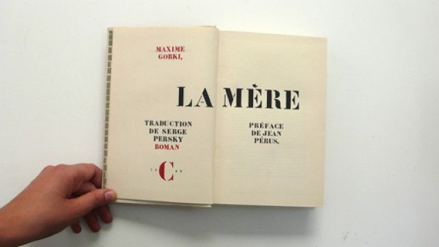 Title page of La mère (Mother) by Maxime Gorki. Le Club français du livre, Paris, 1949. Printed by Paul Dupont, Paris. Bound by Engel, Malakoff.  Designed by Pierre Faucheux.