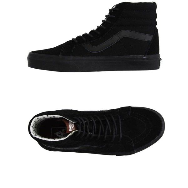 Vans High-tops & Trainers ($225) ❤ liked on Polyvore featuring shoes, sneakers, black, leather sneakers, black shoes, flat shoes, vans sneakers and vans high tops