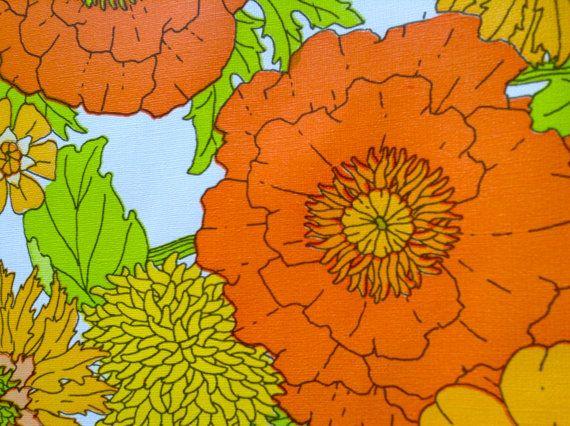 Groovy Flower Power Wallpaper Roll.  Eye Popping Colors.   Mid century Kitsch.   Yellow, Orange, Green.  Too Damn Groovy.