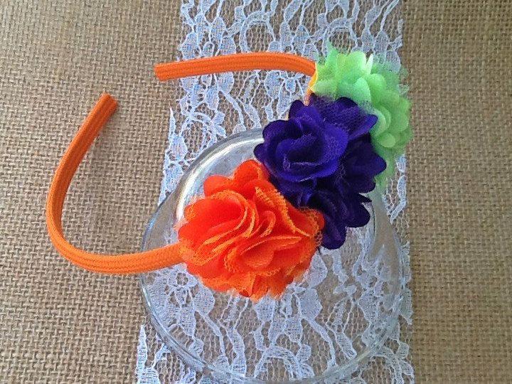 Girls Halloween Headband - Toddler Halloween Headbands - Big Girl's Halloween Headband - Lime, Purple and Orange Headband - Child's Headband by CLBBoutique on Etsy