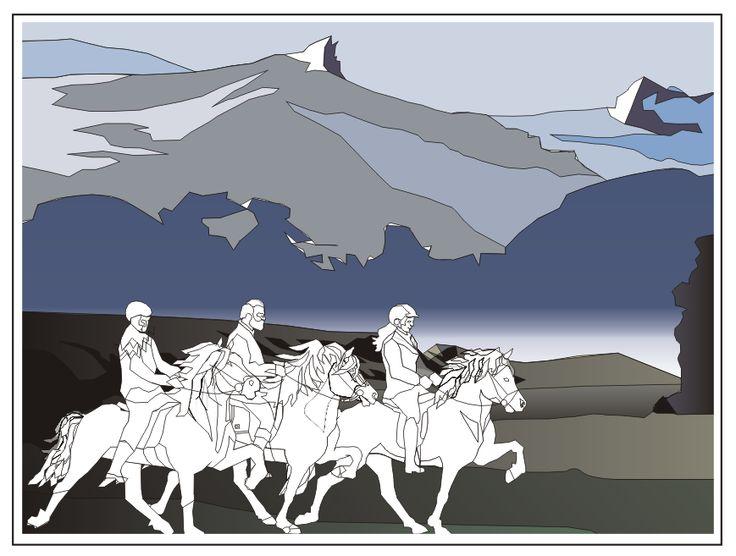 toltende ruiters op IJsland