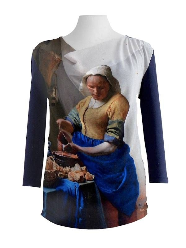 """Shirt """"The Milk Maid"""". High-quality shirt with 3/4 sleeve and cowl neck. Mauritshuis shop, The Hague, Holland"""
